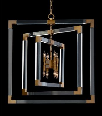 CHANDELIER AJC 9044 ACRYLIC AND BRASS FRAME