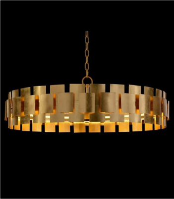CHANDELIER ROUND GOLD LEAF
